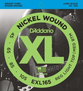 D'ADDARIO EXL165 Regular Light Top/Medium Bottom - .045 -.105 struny pro baskytaru